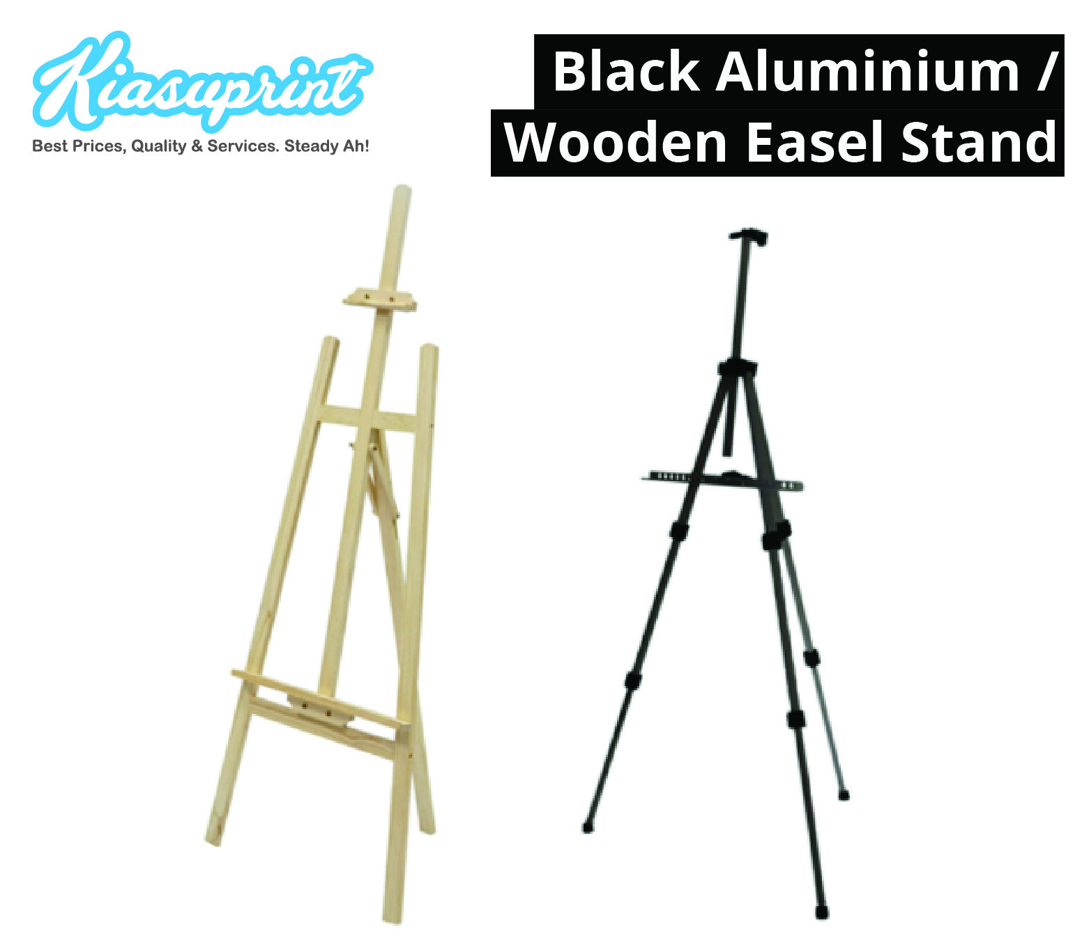Black Aluminium / Wooden Easel Stand