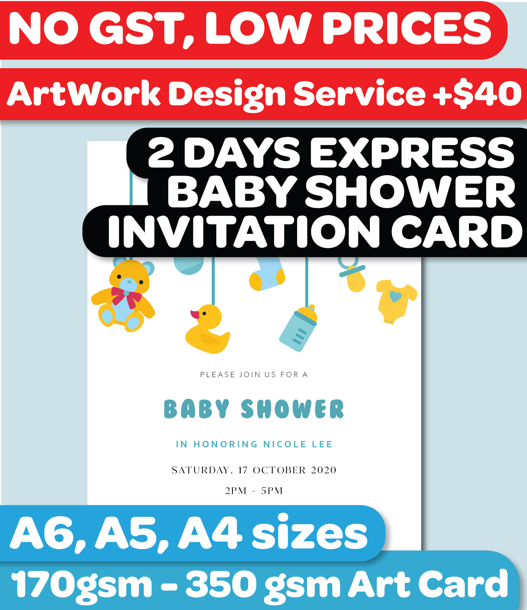 Baby Shower Invitation Card Printing