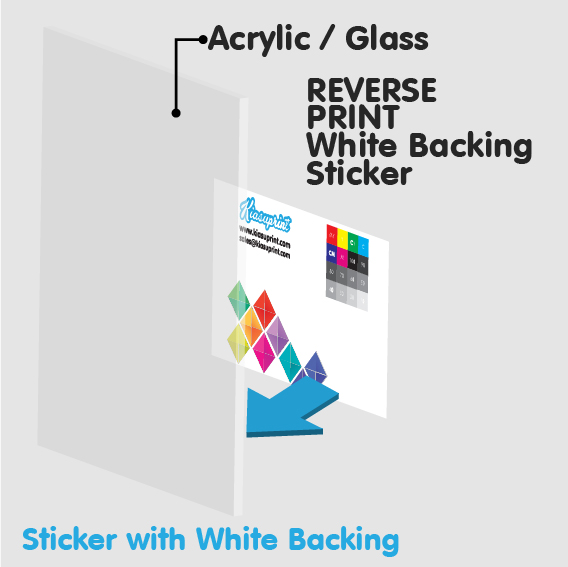*Large Format* Reverse Print White Backing Stickers (Outdoor/Indoor) (No Installation)