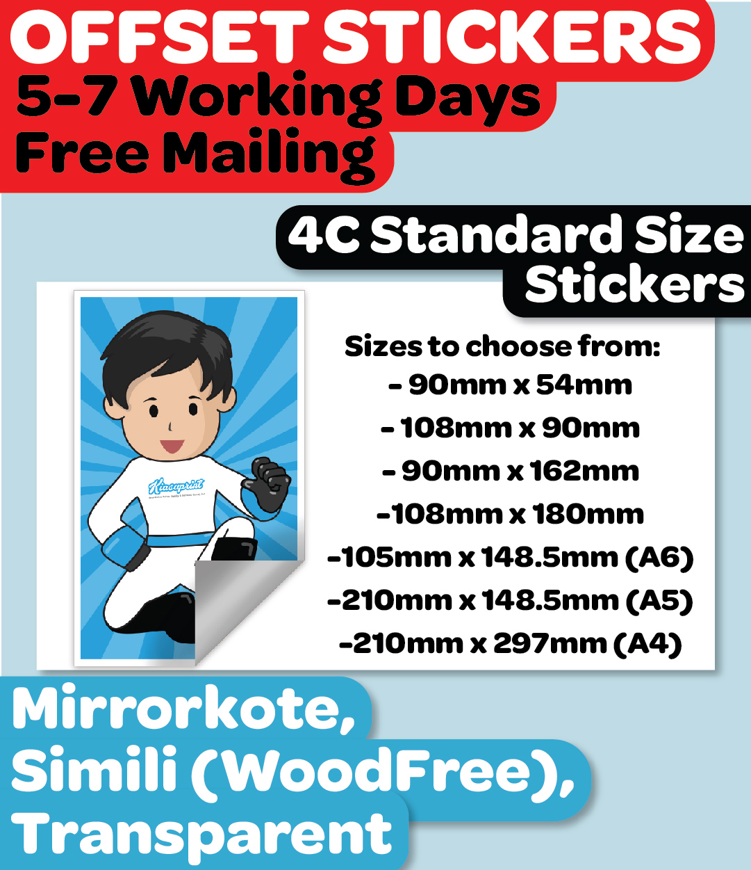 4C Standard Size Stickers (Most Economical)